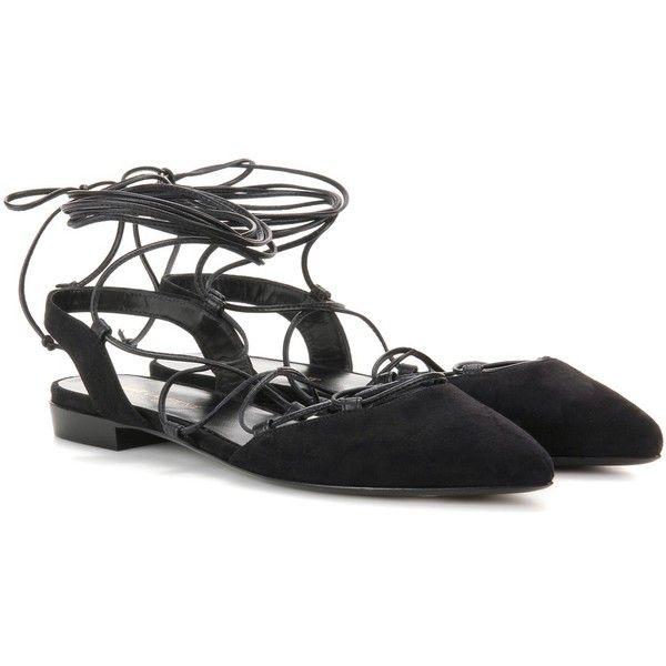 6ab510756 Saint Laurent Paris Suede Lace-Up Sandals (€595) ❤ liked on Polyvore  featuring shoes