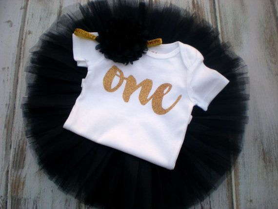 Baby Girl Black Gold Birthday Tutu- Black and Gold First Birthday Outfit- Gold…