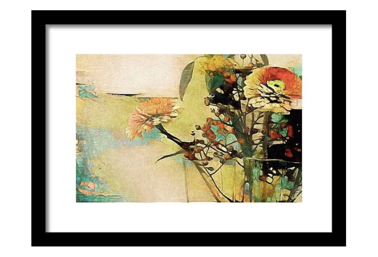 Floral Wall Art; Framed Yellow, Turquoise & Orange Botanical Print ...