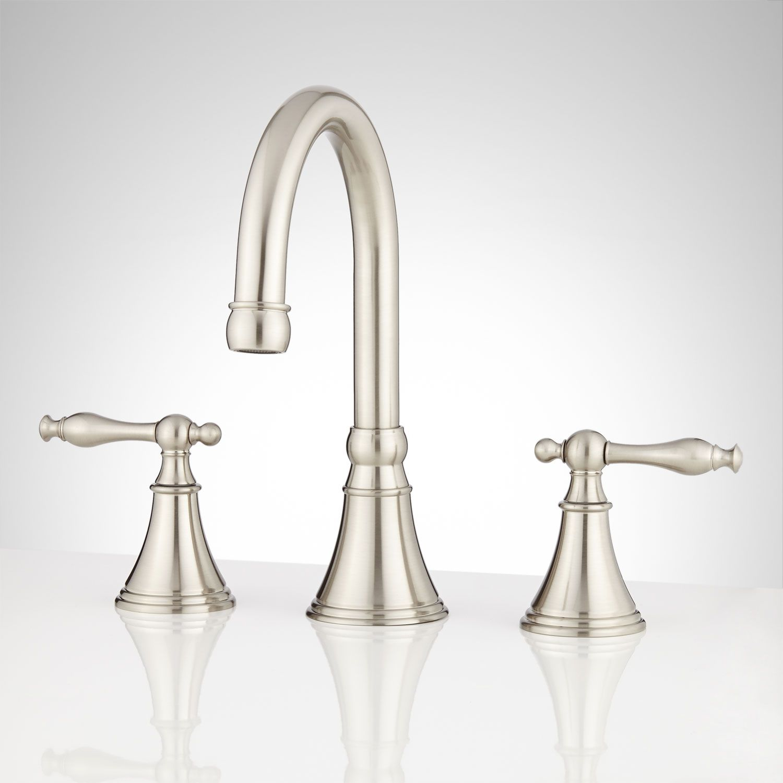 Glasgow Widespread Bathroom Faucet No Overflow Brushed Nickel