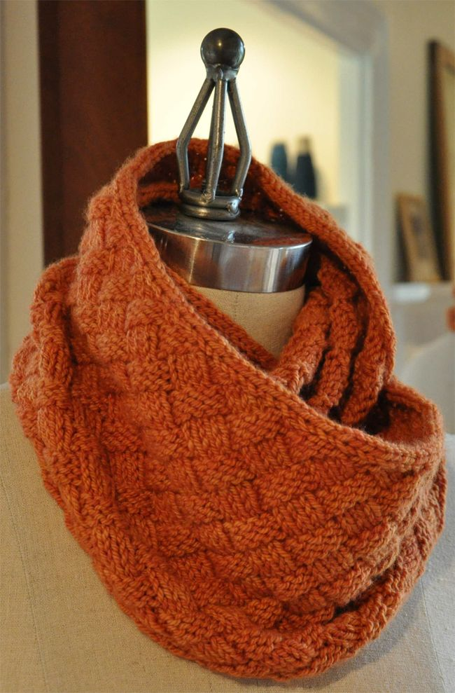 Olivia Cowl knit in Swans Island Worsted yarn. Nice basket weave ...