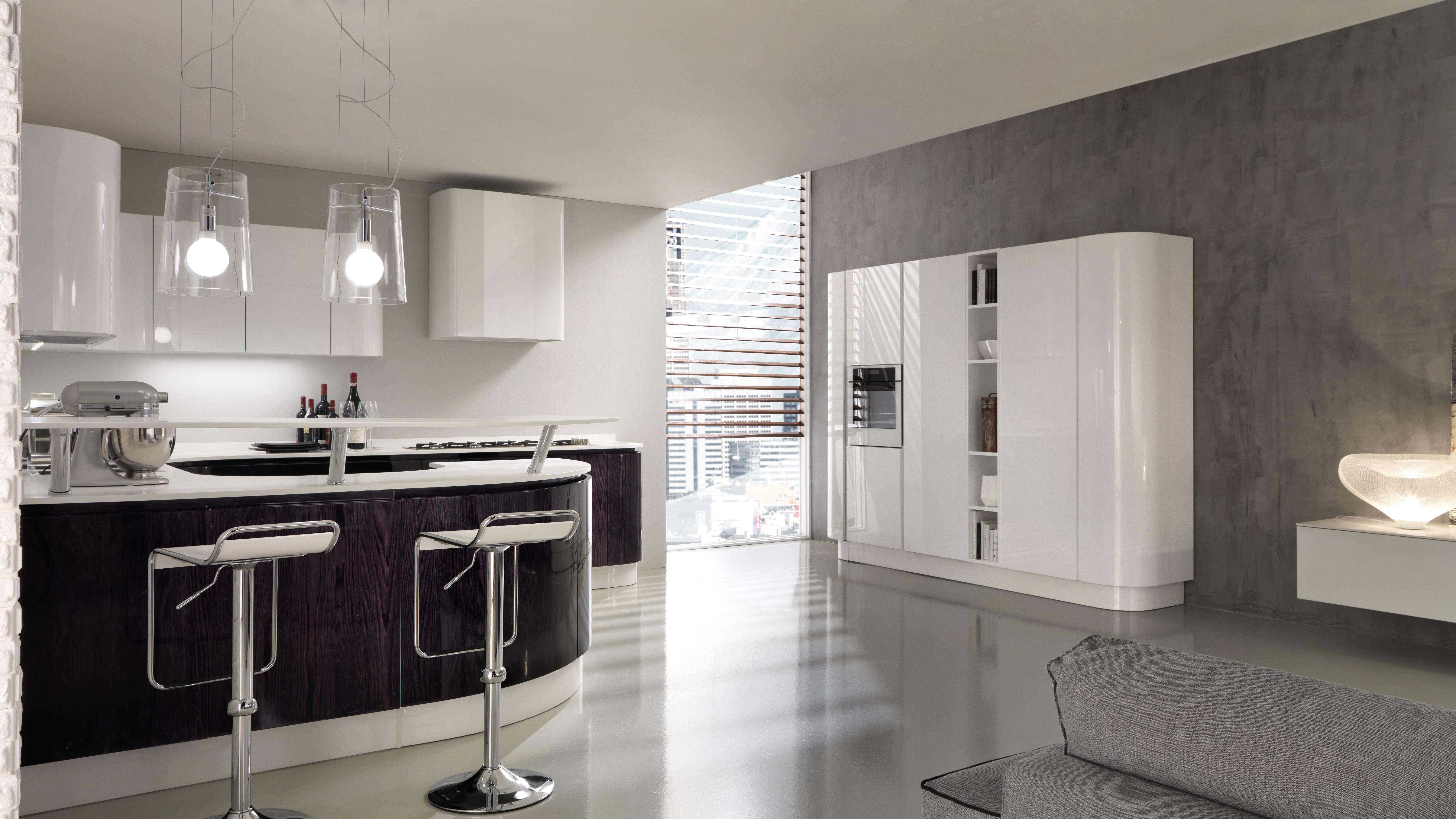 Berloni Cucina B-50 Rovere Nero China lucido + Laccato Bianco ...
