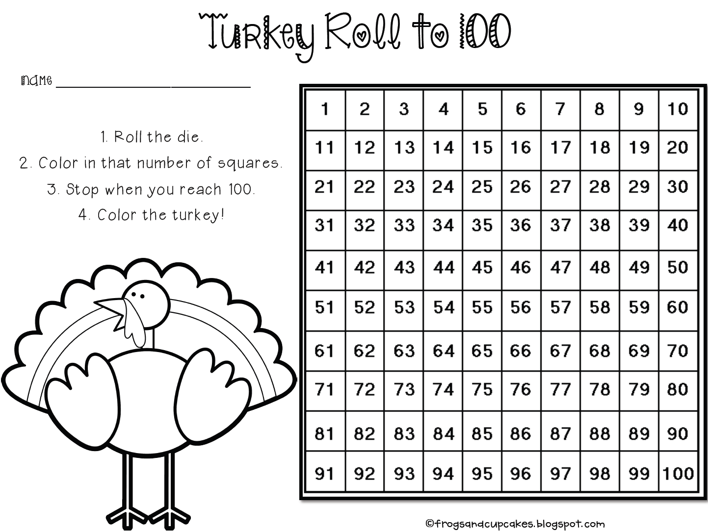 Turkey Roll To 100 Math Freebie