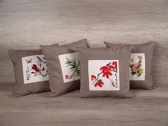 Asian throw PILLOW COVERS set of 4, Oriental pillows needlepoint pillowcases, Japanese decor embroidered cushion covers, Yoga studio decor