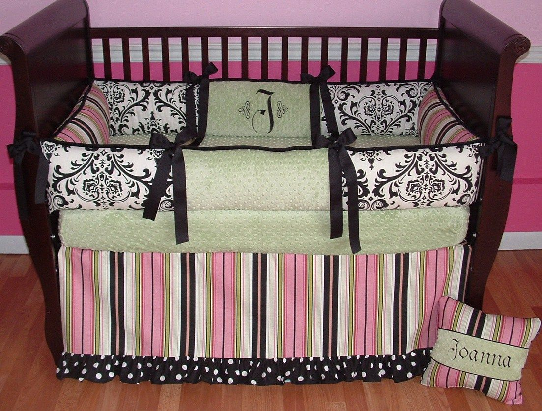 Sweet And Feminine Baby Girls Bedding Sets : Fascinating Joanna Sage Baby  Girls Bedding Set Inspiration In Light Pink And Hot Pink Colored W.