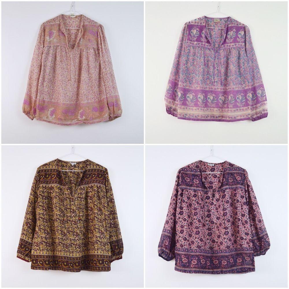 8663a47c3b350 Lot of 4 - 70s vintage Indian gauze shirt Boho top Hippie shirt Gypsy tunic