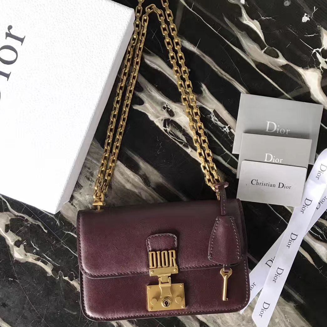 897c79a4dc68 Dior Small Dioraddict Flap Bag In Calfskin Burgundy2017