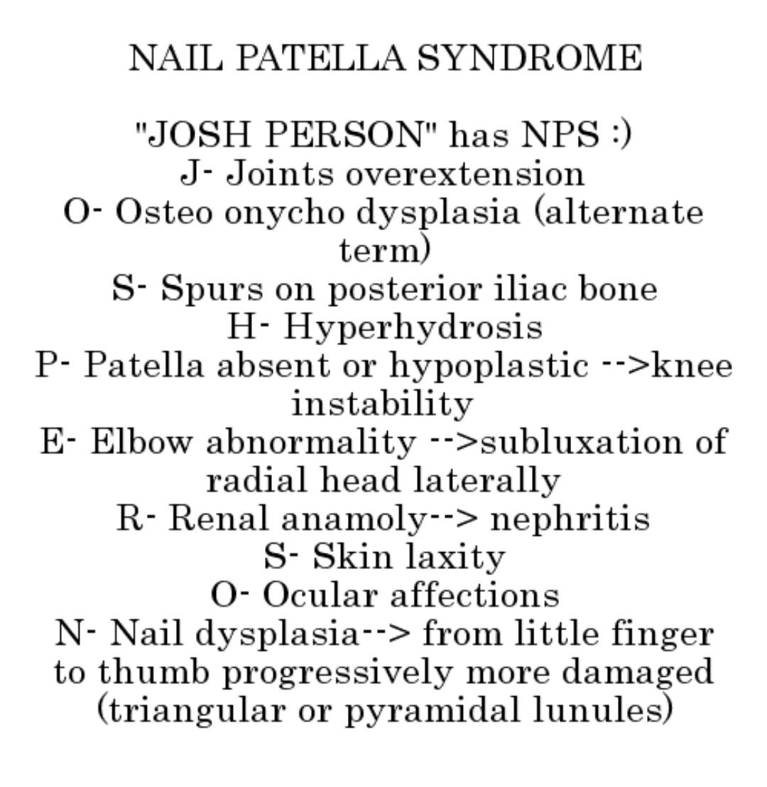 JOSH PERSON... Nail patella syndrome... | Mnemonics | Pinterest
