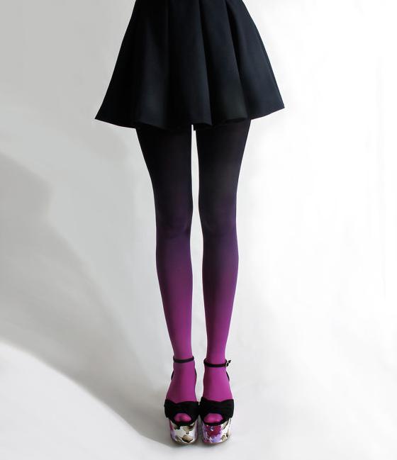 Ombré tights in Fuschian Violet