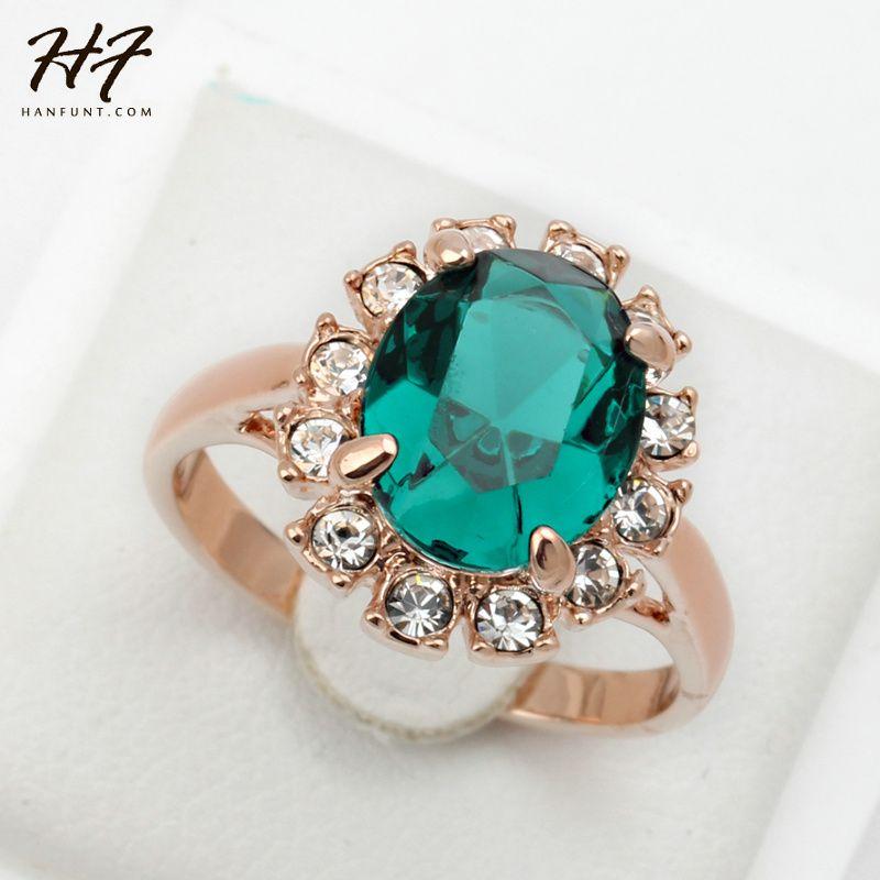 녹색 모조 다이아몬드 반지 골드 컬러 크리스탈 패션 주년 보석 여성 anel R088