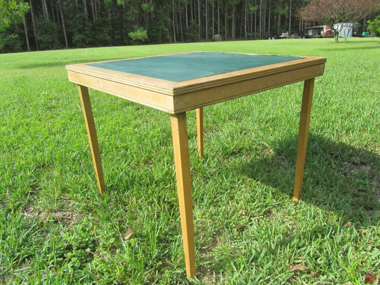 Vintage Card Table Folding Table Vintage Wood Table Green Mid