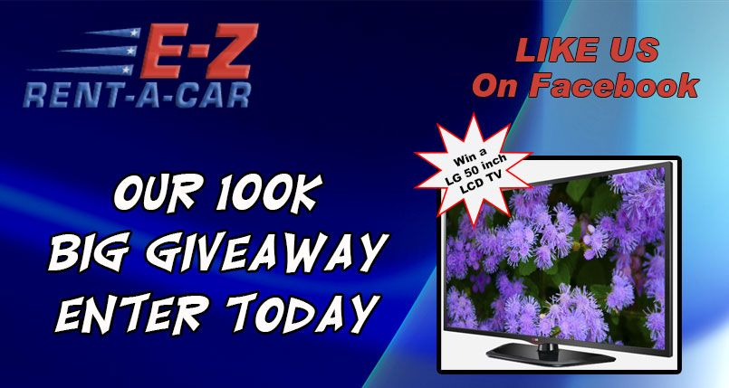 Check Out The E Z Rent A Car Our 100k Big Giveaway Sweepstakes Enter Today For Your Chance To Win A 50 Inch Tv Sweepstakes Big Giveaway Sweepstakes Giveaways