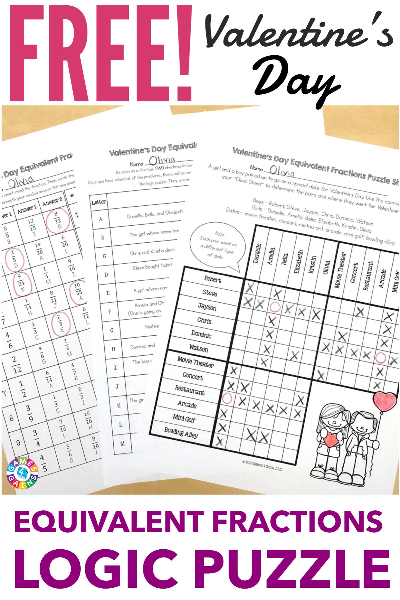 Free Valentine S Day Math Logic Puzzle Equivalent
