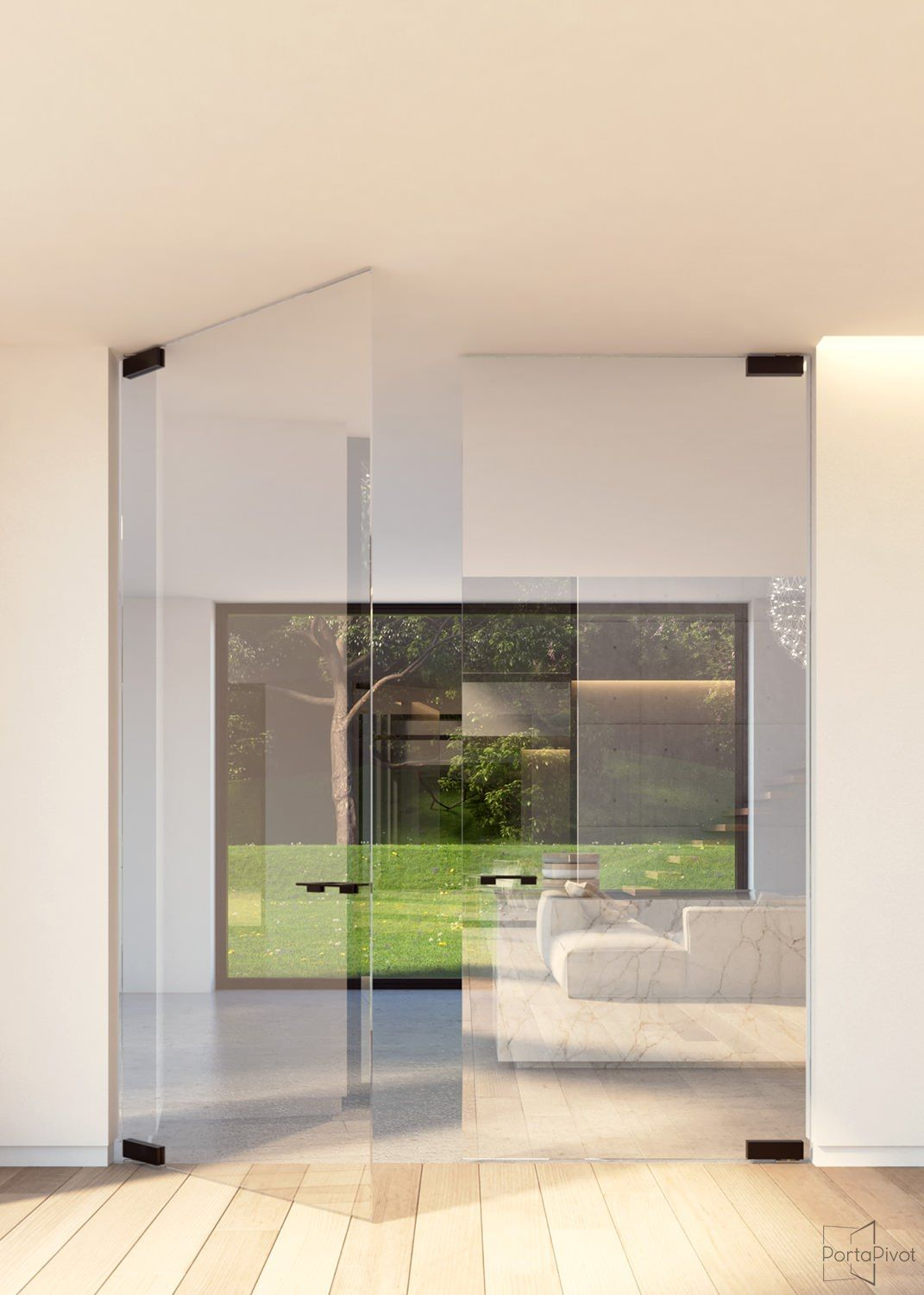 Double Glass Pivot Door With Compact Patch Fittings Built In Invisible Stealth Pivoting Hinges