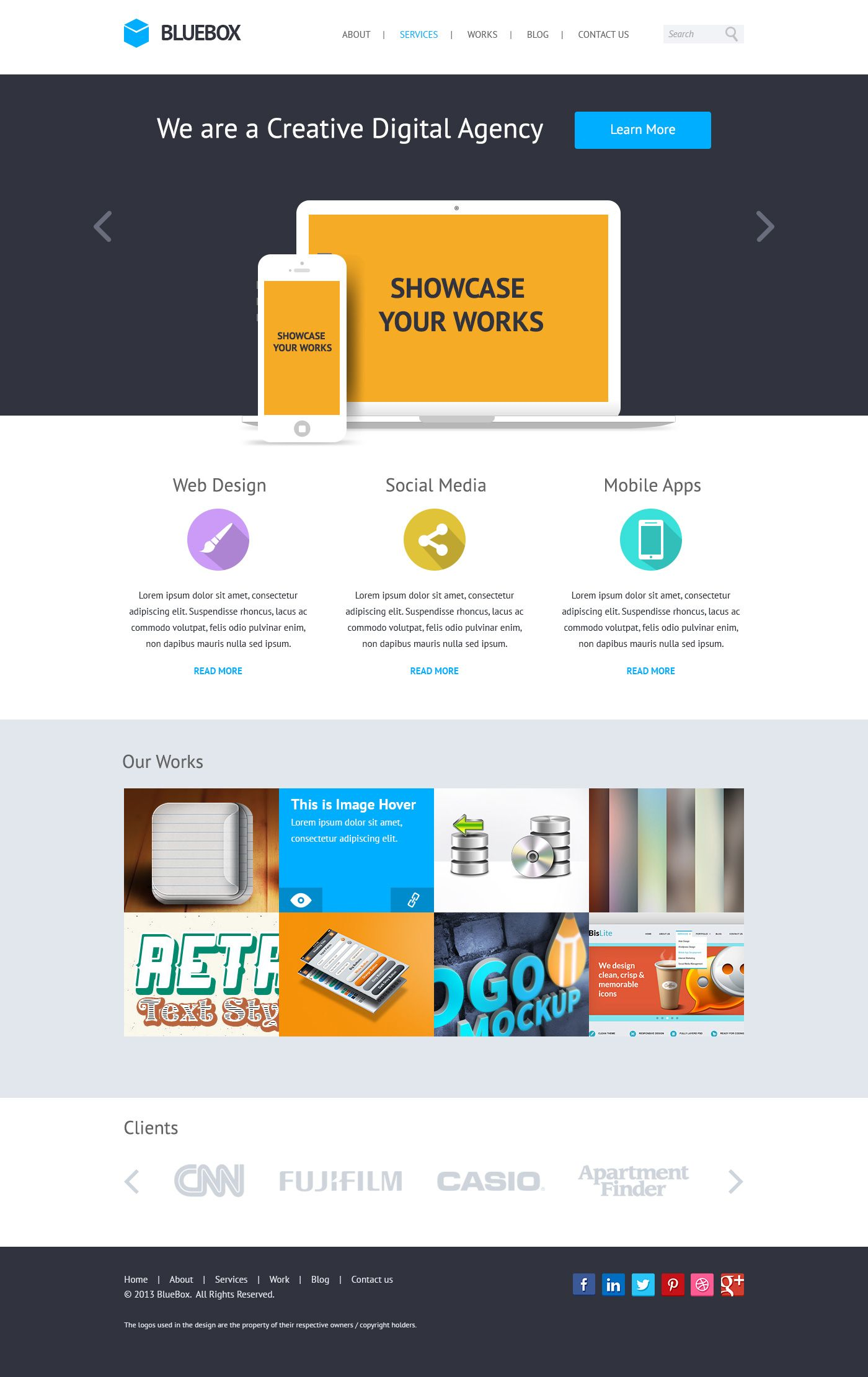 Bluebox flat website psd templates design psd templates flat website psd templates design maxwellsz