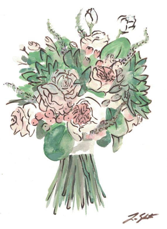 d2286b353c custom bouquet watercolor FREE SHIPPING // flower drawing ...
