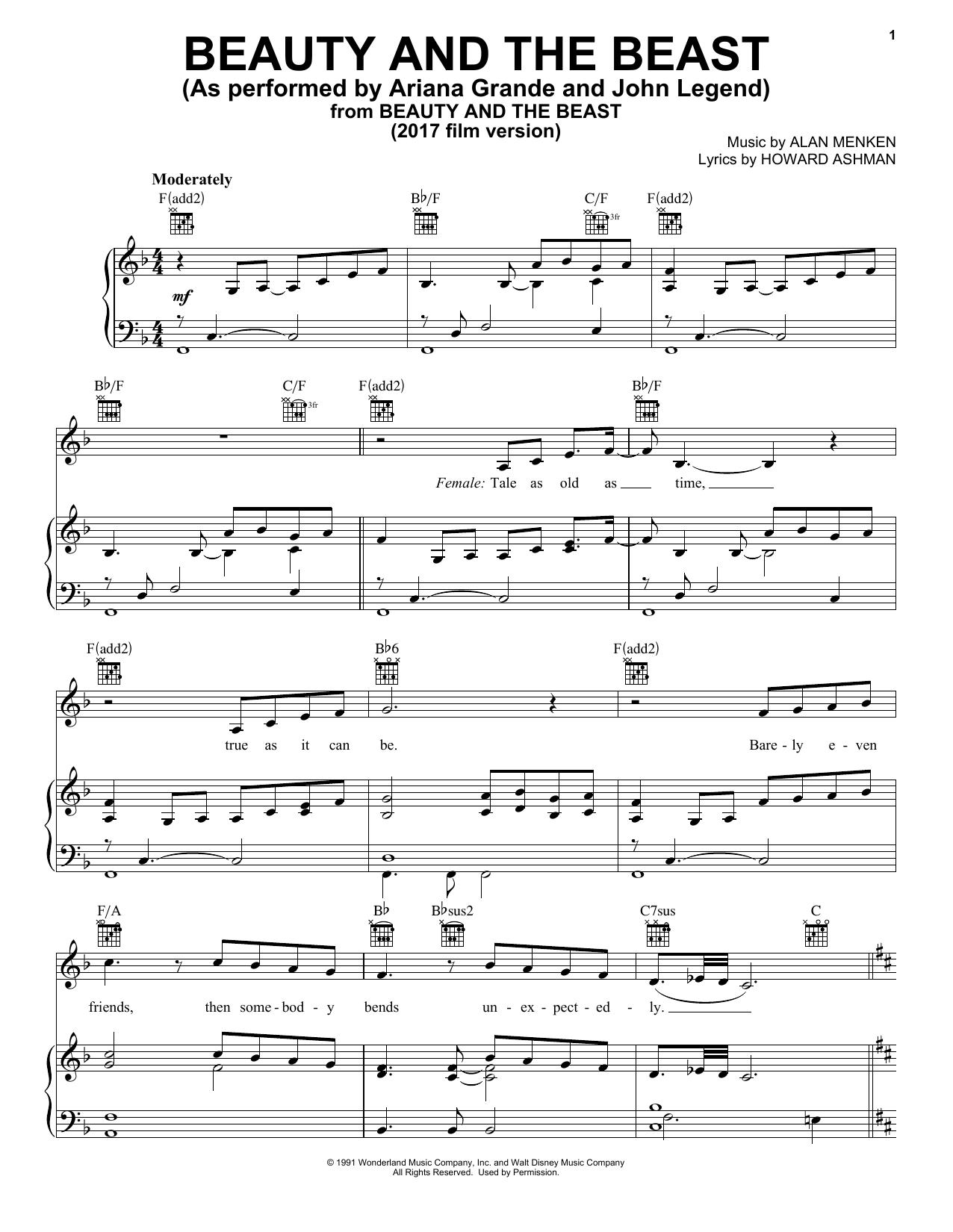 (sheet Music - Piano) Walt Disney - Beauty And The Beast ...
