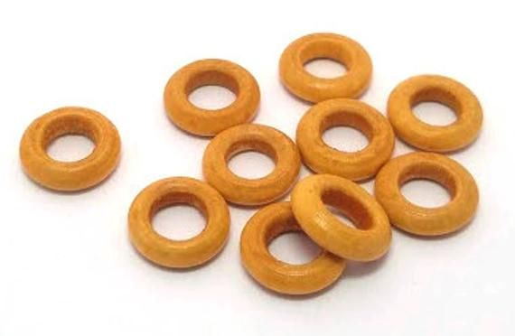 10 Wooden Rings Small Wood Rings Large Hole Natural