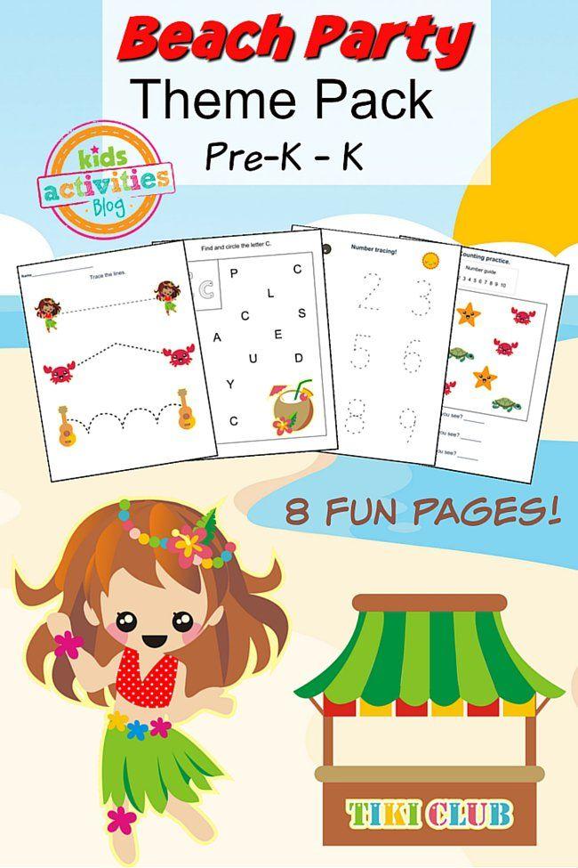 Beach Party Printable Preschool Worksheet Pack Printable