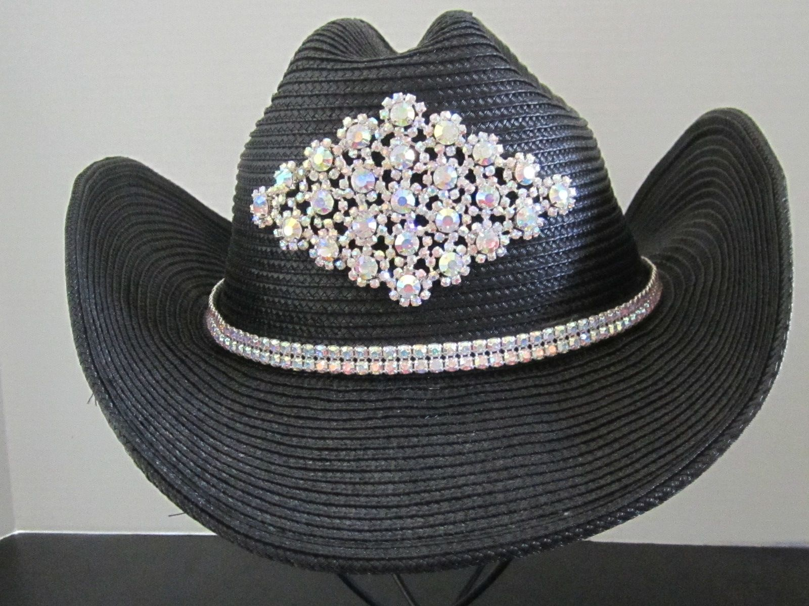90a150c594d99 Black straw Cowgirl hat with a hand sewn Crystal AB rhinestone diamond  shaped applique on the
