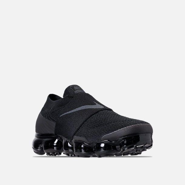 Three Quarter view of Women s Nike Air VaporMax Flyknit MOC Running Shoes  in Black Black ff87314645