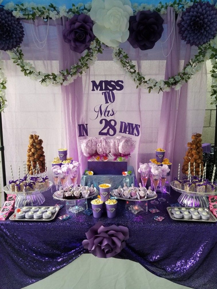 Bachelorette Dessert Table With Purple Theme Purple Dessert Tables Bachelorette Desserts Dessert Table