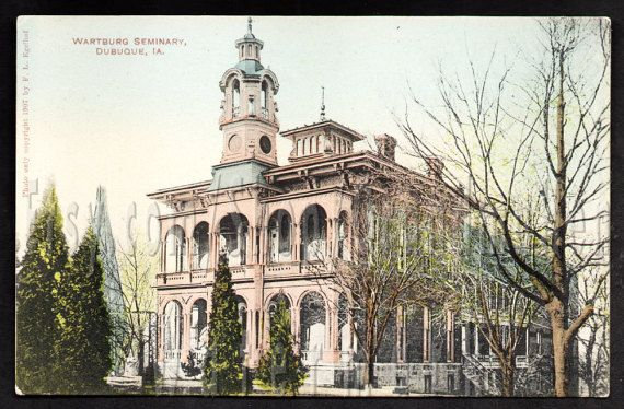 Wartburg Seminary Building Dubuque, Iowa Hand-painted Postcard by Egelhof, 1907 just listed on Etsy!.