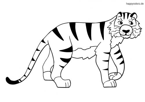 Einfacher Tiger Ausmalbild Ausmalen Zootiere Ausmalbilder