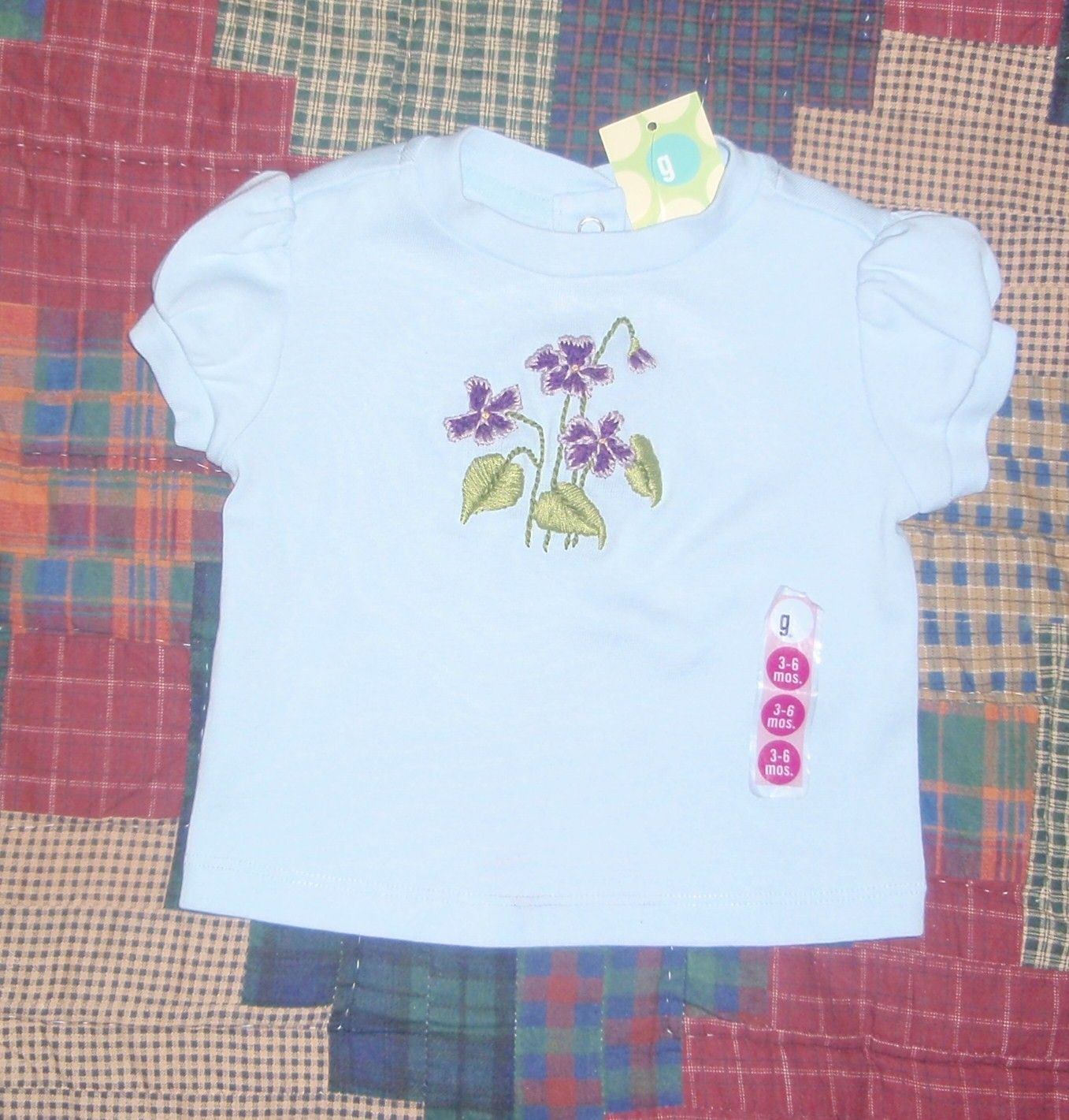 hand-embroidered top - size 3-6 month, violets, gymboree shirt. $10.00, via Etsy.