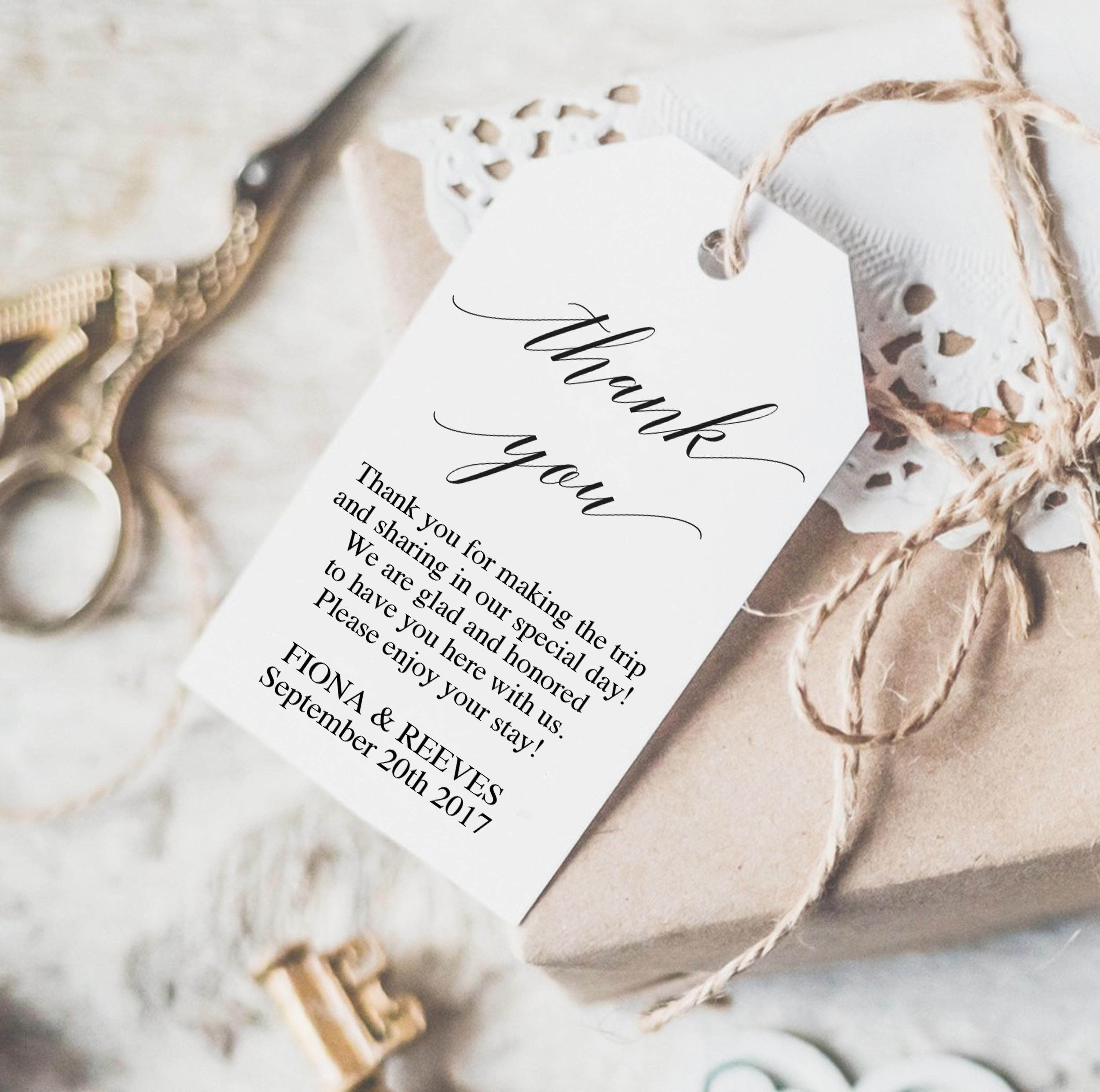 Wedding Thank You Tag | Printable Wedding Gift Tags | Rustic Wedding ...