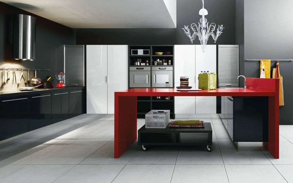 Love The Touch Of Red In This Black And White Kitchen Kitchen Design Trends White Modern Kitchen Modern Kitchen Design