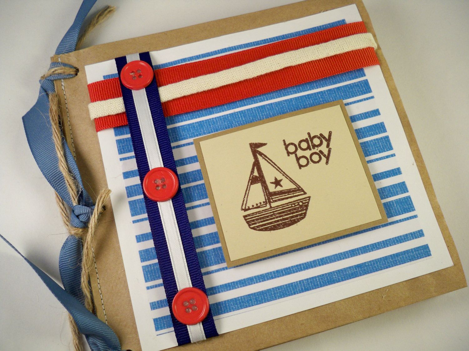 Paper bag scrapbook - Baby Boy Book Scrapbook Album Nautical Red White And Blue Paper Bag