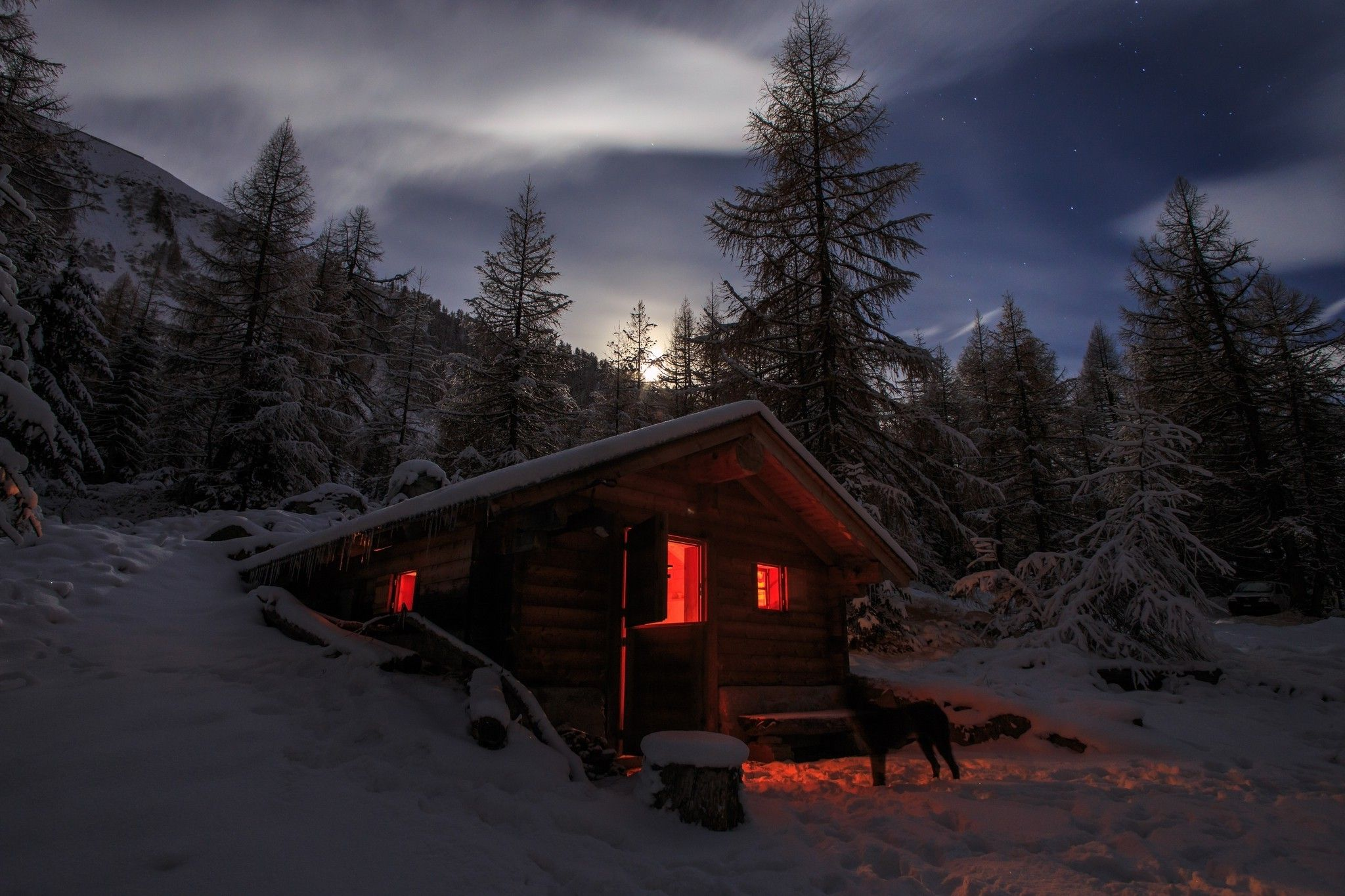 Download Hd Wallpapers Of 386566 Photography Landscape Nature Winter Cabin Snow Moonlight Dog Fores Landscape Walls Landscape Wallpaper Mural Wallpaper