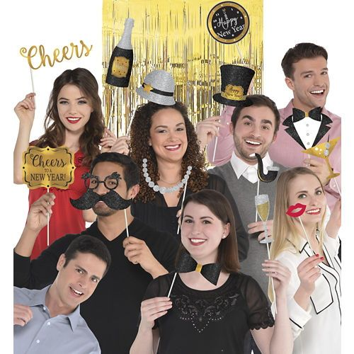 Black Gold Silver New Years Photo Booth Kit 21pc My