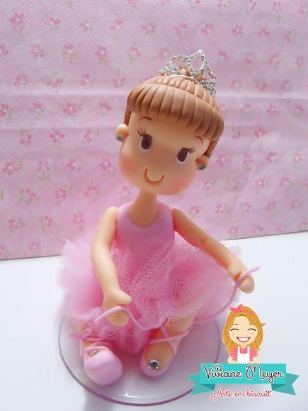 Bailarina para enfeite de bolo