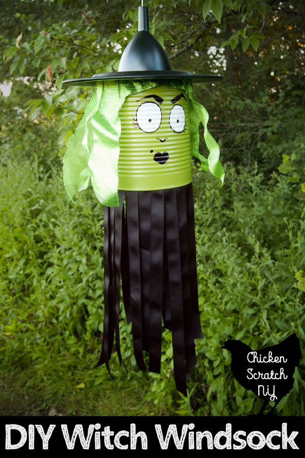 Wacky & Wicked Witch Windsock Tutorial - Kid friendly halloween, Diy halloween decorations, Halloween fun, Halloween crafts, Halloween kids, Halloween witch - Turn a empty 10 can into a whimsical witch windsock with a few dollar store supplies and simple tools to decorate your home for Halloween