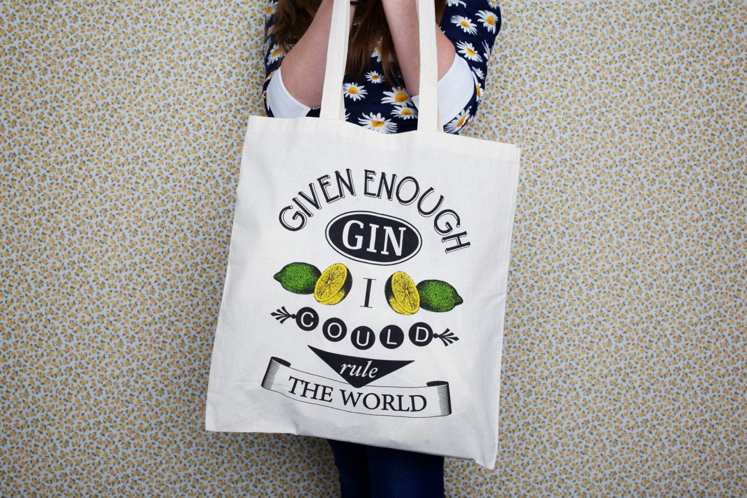 Tote Bag Gin Quote Tote Bag Shopper Typography by oflifeandlemons, $18.30