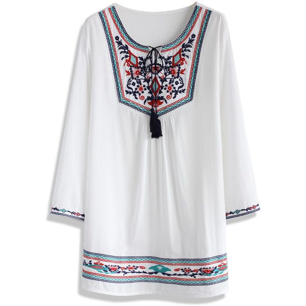Chicwish Colorful Vibe Embroidered Tunic (610 MXN) ❤ liked on ...