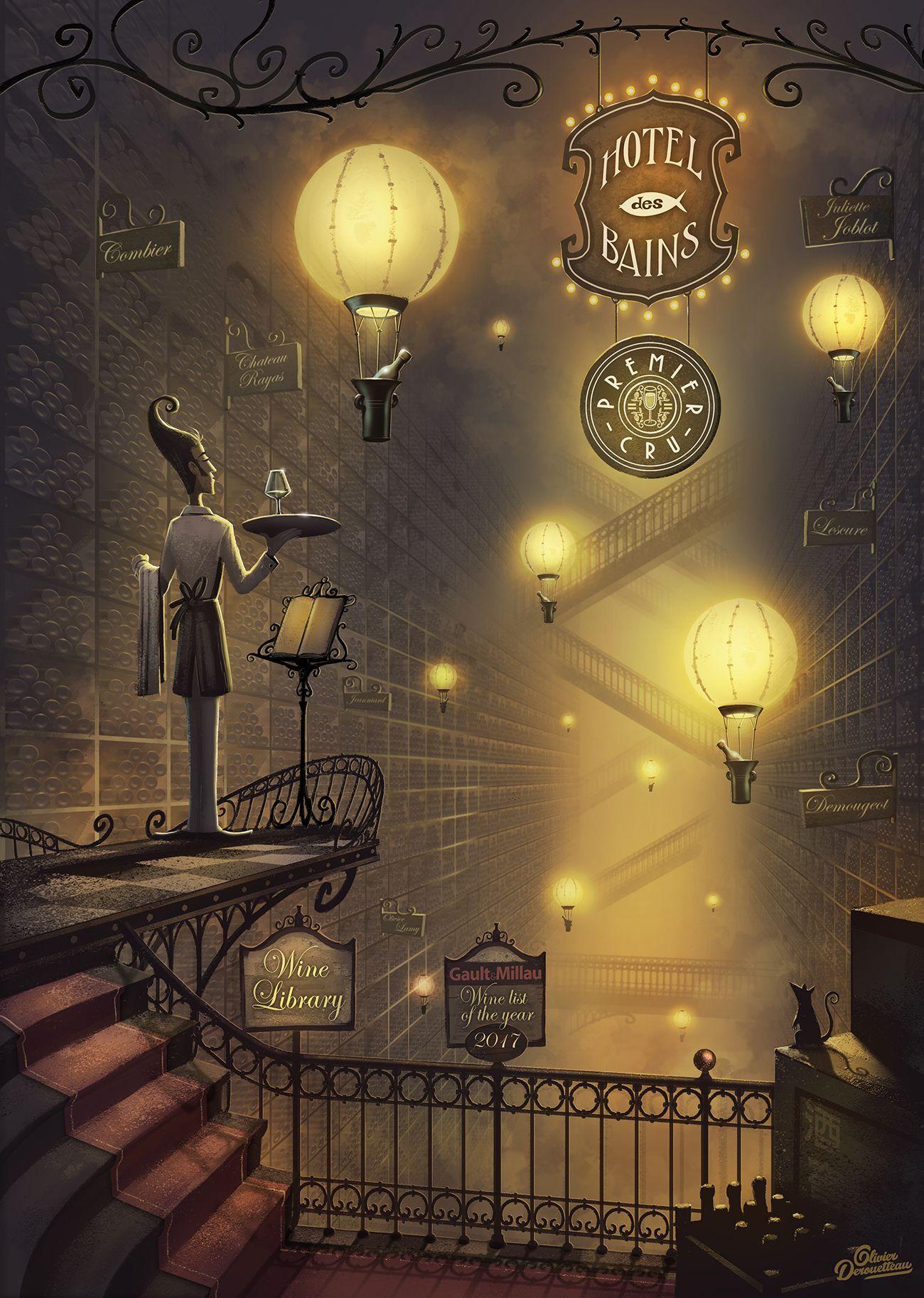 Secret wine library by olivier derouetteau illustration d
