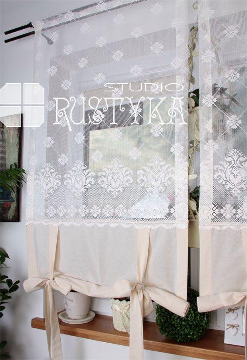 Firana roletka z bawełny i tiulu curtain, rideaux, curtains shabby ...