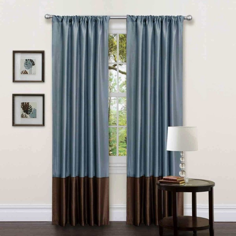 Living Room Modern Two Tone Blue Brown Curtains Mixed With Wall Art Paintings Decor Also