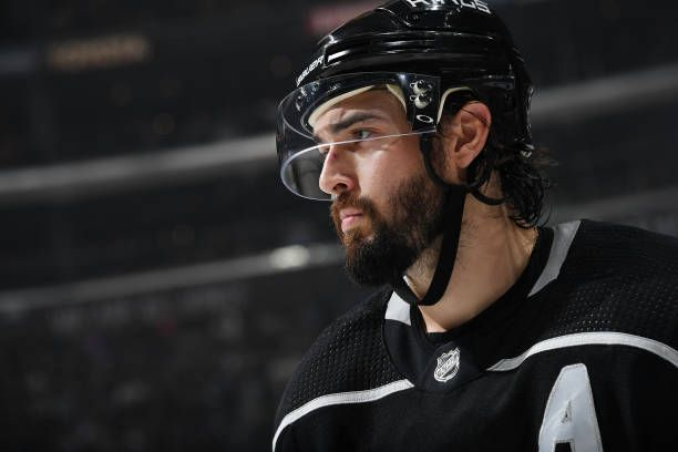 5faee9d7c Drew Doughty  8 of the Los Angeles Kings looks on during a game against the  Toronto Maple Leafs at STAPLES Center on November 2