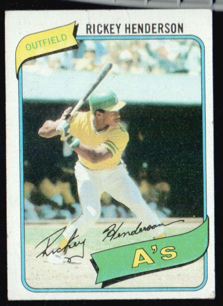 Rickey Henderson Rookie 1980 Topps Baseball Card From