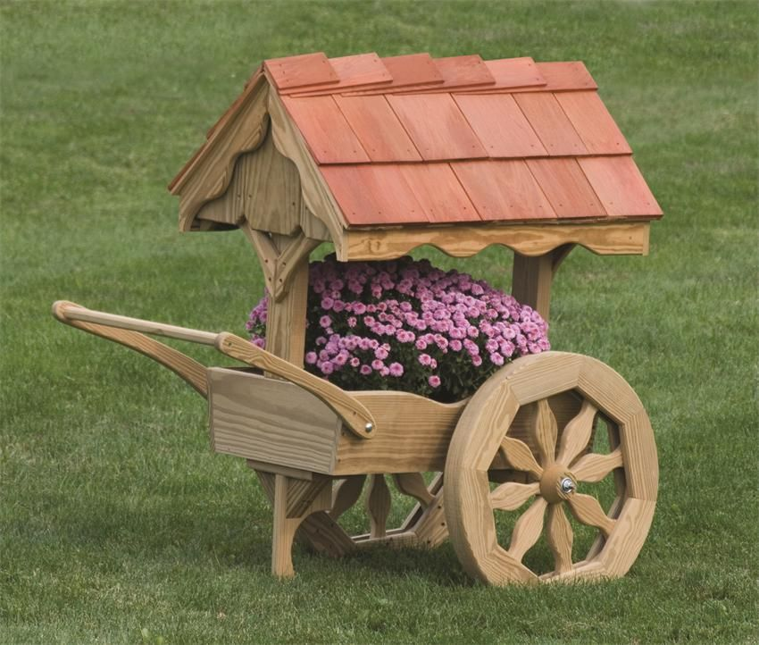 Amish Wooden Rustic Garden Cart Planter Made In America