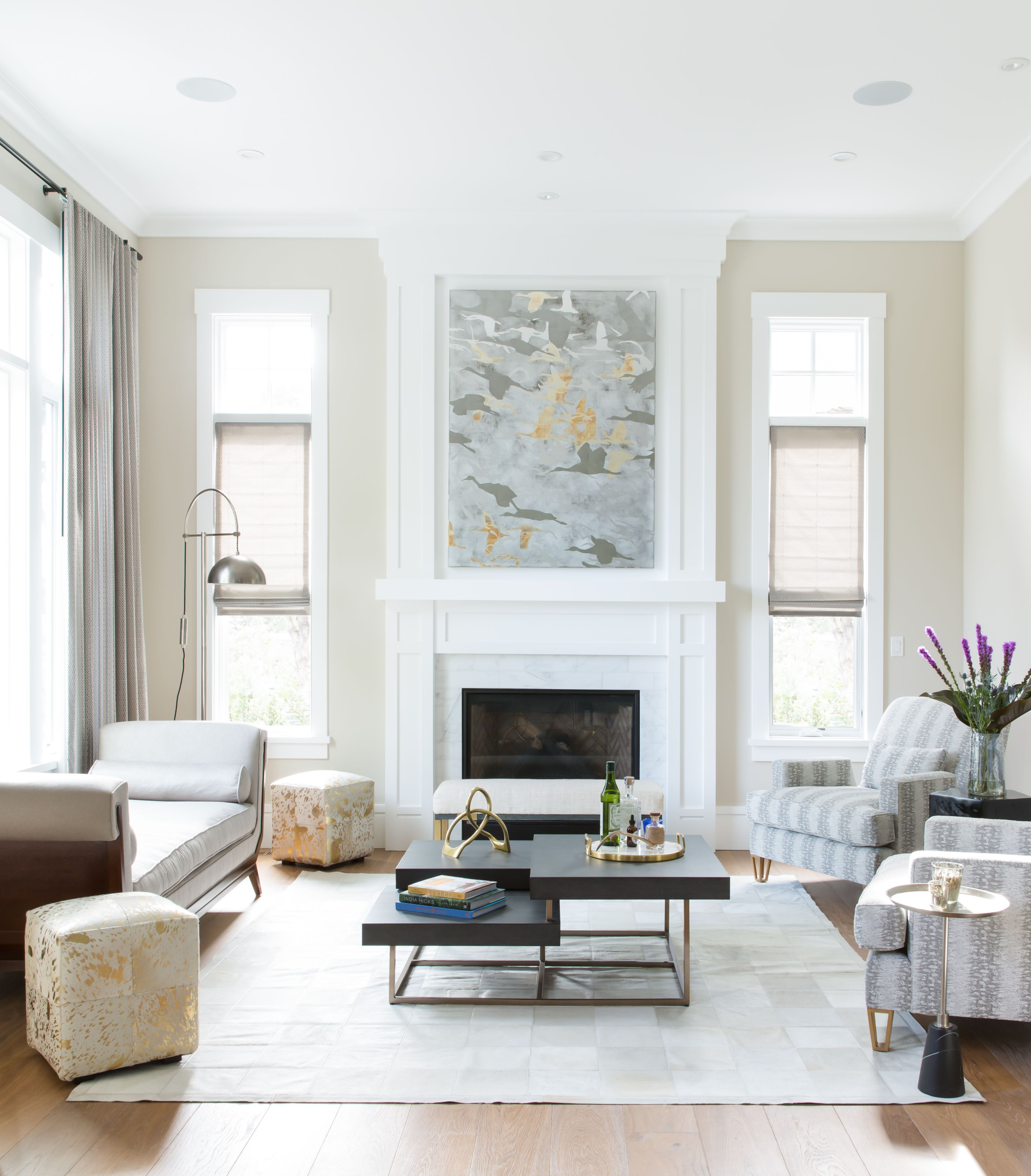 The elegantly neutral formal living room with dark accents. Mixed ...