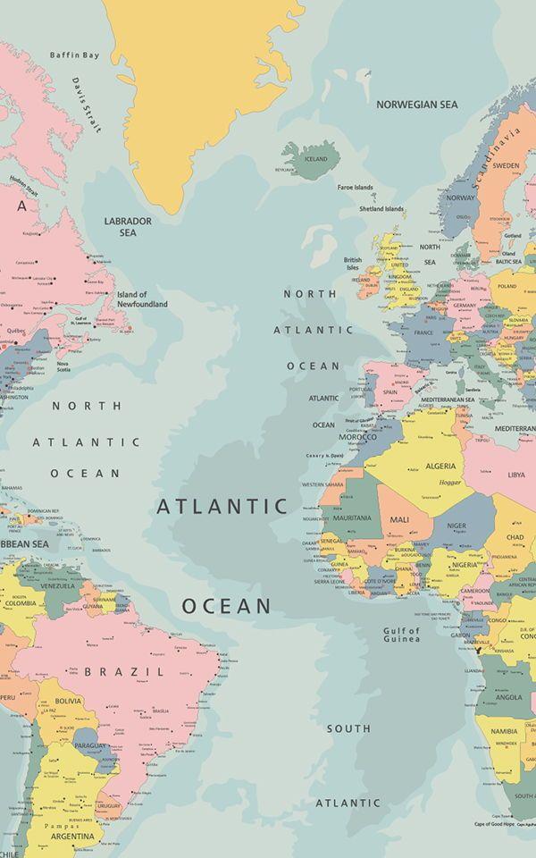 Pastel World Map Wallpaper   MuralsWallpaper