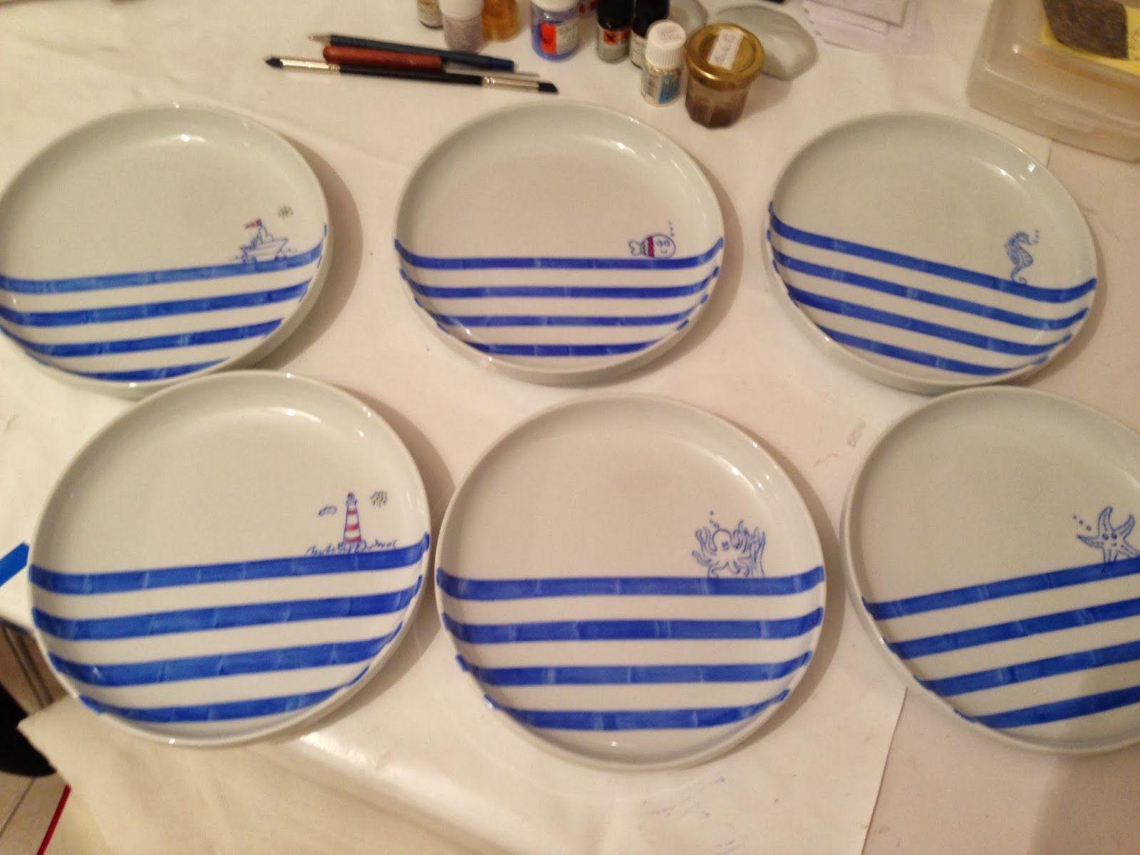 passion peinture et porcelaine les assiettes pour la maison de la mer peinture sur. Black Bedroom Furniture Sets. Home Design Ideas