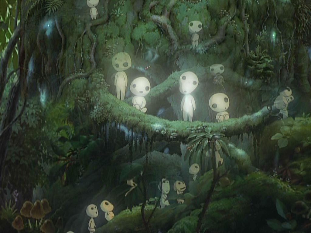 kodama, japanese tree spirits (from princess mononoke