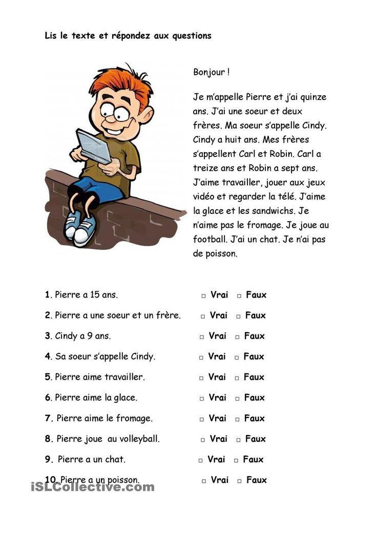Pierre Exercices De Comprehension Comprehension De Lecture Lecture