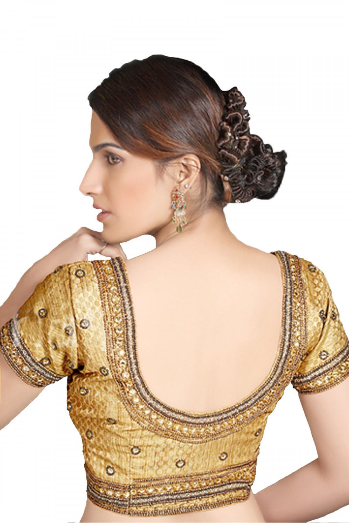 Beige golden brocade blouse blouse designs blouse designs for sarees - Brocade In Cowl Ideal For Wedding Find This Pin And More On Blouse Back Designs